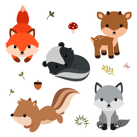 Woodland animals set.
