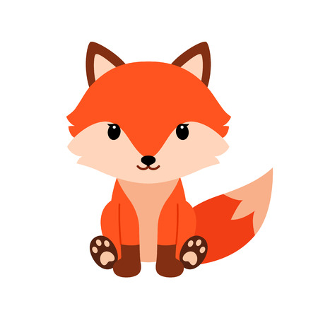 Cute cartoon fox in modern simple flat style. 일러스트