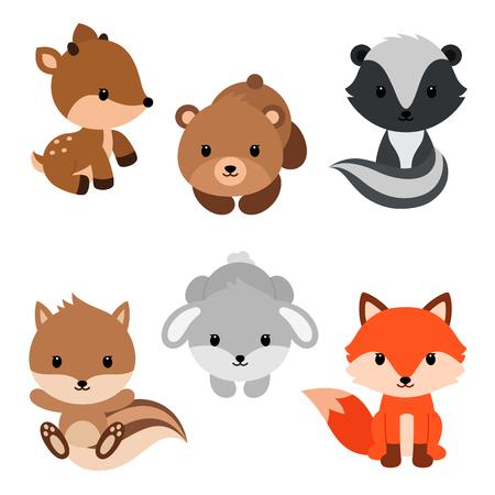 Woodland animals set. Vector Illustration