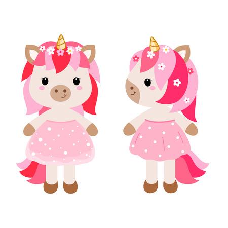 vector cartoon filles licorne dans la robe rose