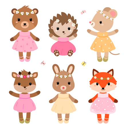 Cute dressed woodland animals in modern flat style. Vector illustration isolated on white background.