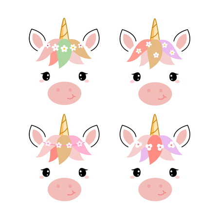 Adorable unicorn heads isolated on white background. Stock Vector - 98788483