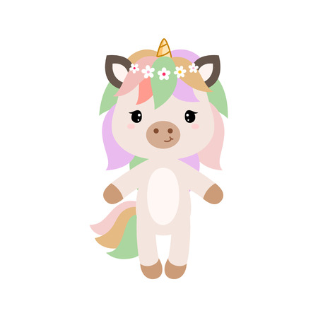 Vector cartoon unicorn in flat style. Clipart isolated on white background.