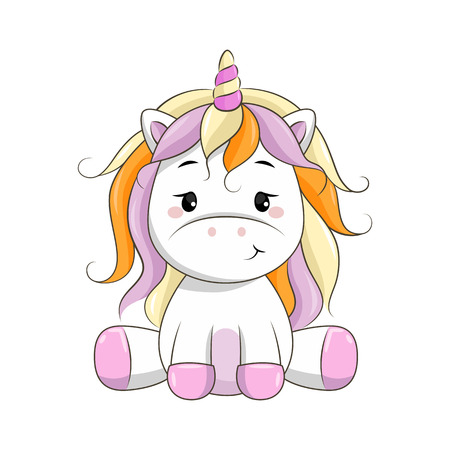 Vector cartoon unicorn.
