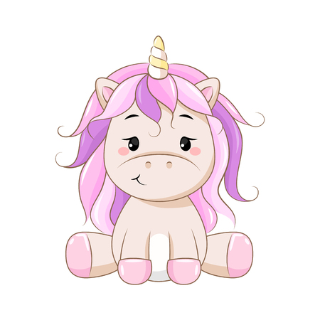 Vector cartoon unicorn. Clipart isolated on white background. 向量圖像