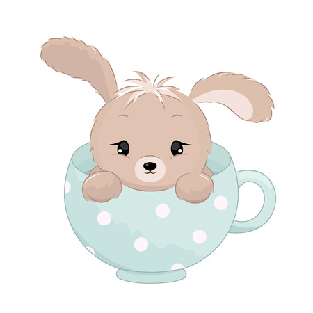 Cute baby boy rabbit inside the cup. Pastel colors vector illustration. Illustration