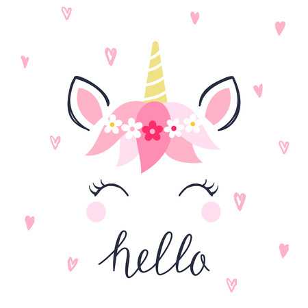 Modern unicorn face background with text. Vector illustration on white background.