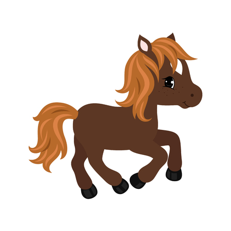 Adorable cartoon horse character. Vector illustration isolated on white background. Иллюстрация