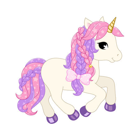 Cute unicorn illustration. Vector image isolated on white background.