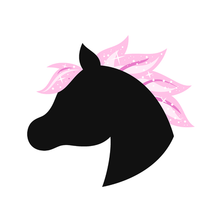 Unicorn with pink hair icon.