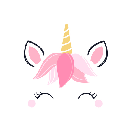 Modern unicorn face background with copy space. Illustration