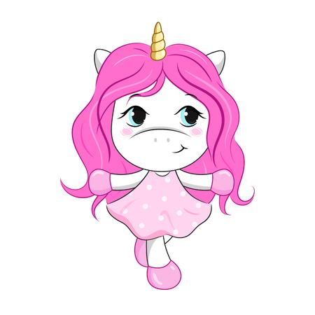 Vector cartoon unicorn girl.