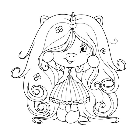 Cute baby unicorn holding flower, coloring page for girls. Vector illustration isolated on white background. Vectores