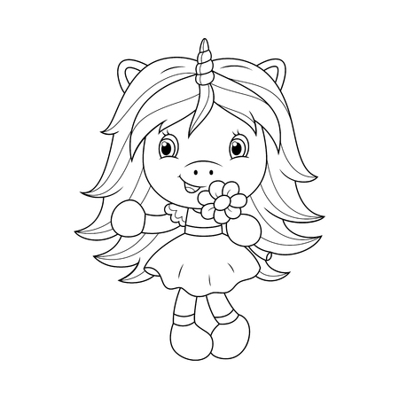 Cute baby unicorn holding flower, coloring page for girls. Vector illustration isolated on white background.