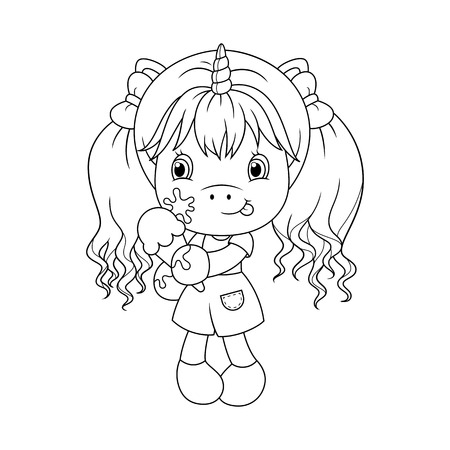 Cute Baby Unicorn Holding Ice Cream, Coloring Page For Girls... Royalty  Free Cliparts, Vectors, And Stock Illustration. Image 114981949.