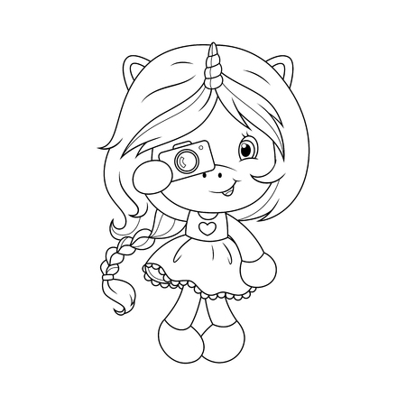 Cute baby unicorn with camera coloring page for girls. Vector illustration isolated on white background.