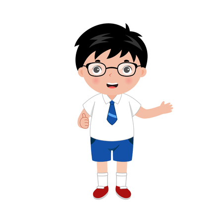 Little smiling boy with eyeglasses in school uniform. One hand with thumbs up and another showing on something. Vector illustration.