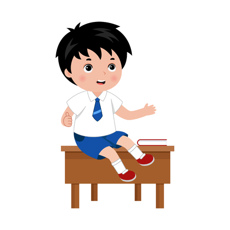 Schoolboy sitting on the desk in school class, speaking and showing thumb up gesture. Vector illustration isolated on white background.