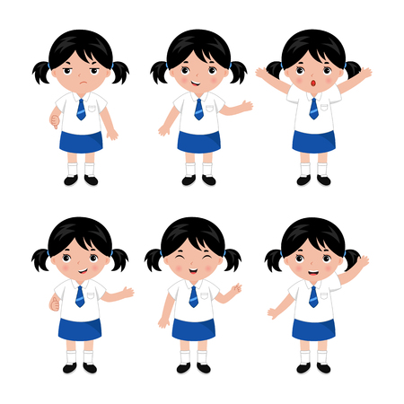 Collection of girls in school uniform. Different poses. Vector illustration. 向量圖像