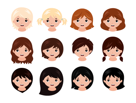 Cute little girls head with different hairstyles and hair colors from blonde to black. Vector illustration isolated on white background.