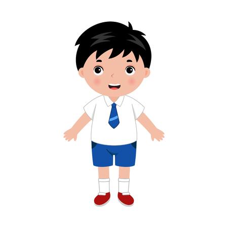 Kleiner Junge in Schuluniform. Vektorgrafik
