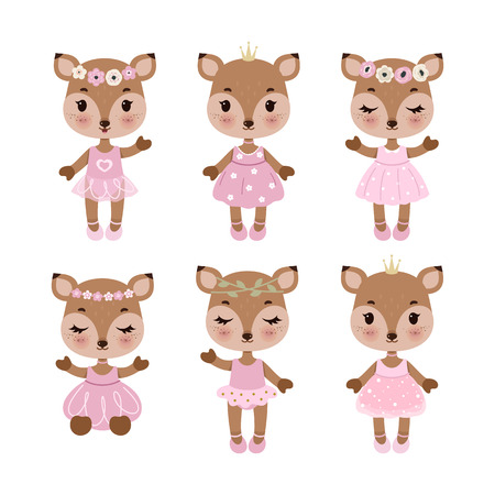 Cute deer in dress in modern flat style. Vintage animals set. Vector illustration isolated on white backround.