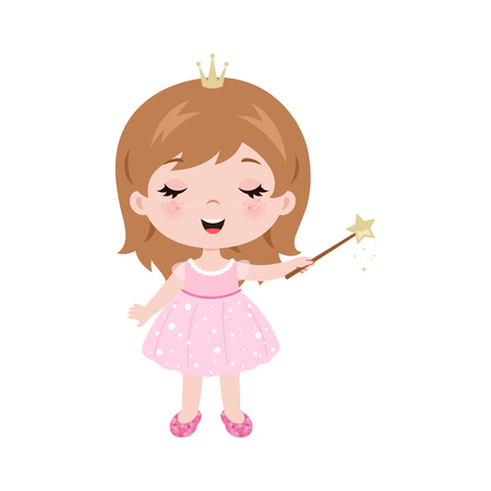 Vector cute little baby girl dressed as princess. Baby girl holding magic wand. Vector little baby girl with magic wand. Vector illustration isolated on white background. Ilustração