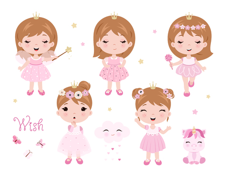 Vector cute little baby girl dressed as princess. Baby princess set. Vector little baby girl with magic wand. Vector illustration isolated on white background. Ilustrace