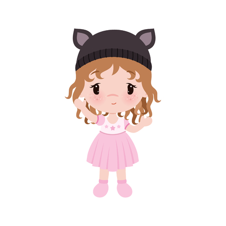 Cute little baby girl in dress , hat with cats ears. Vector illustration isolated on white background.