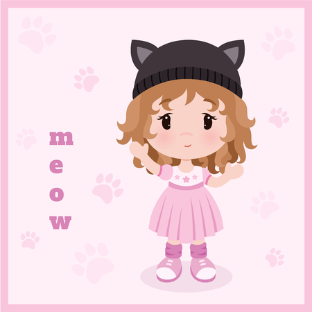 Cute little baby girl in dress, hat with cats ears. Vector background. Illustration
