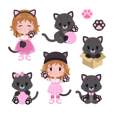 Cute little baby girl in cat costume and cats. Cartoon set. Vector illustration isolated on white background.