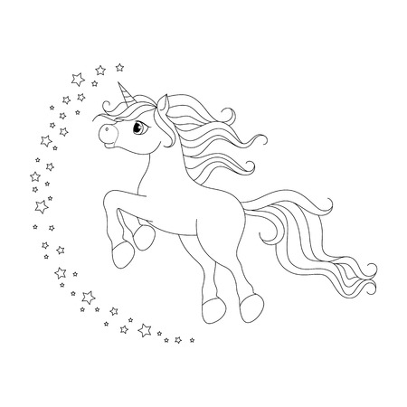 Cute cartoon unicorn. Black and white vector illustration for coloring book isolated on white background. Illustration
