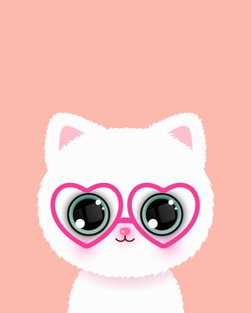 Cute little cat in glasses poster. Vector illustration. Ilustração