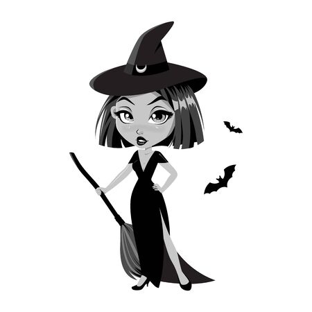 Adorable little witch. Halloween costume. Vector. Illustration