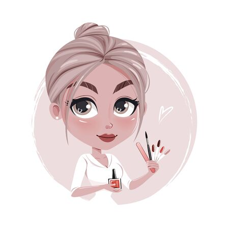 Illustration of cute cartoon manicurist.