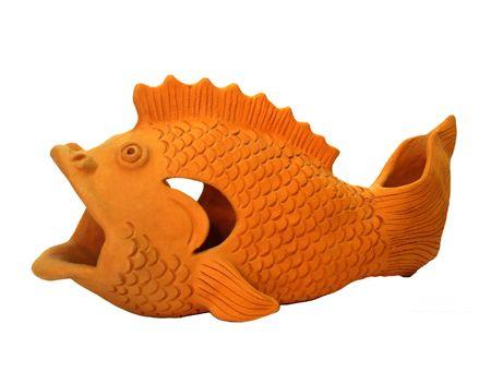 gold en: Ceramic fish