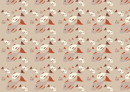 Vector illustration of mid-century modern 1950s style abstract fish pattern. Retro abstract Background. Vector
