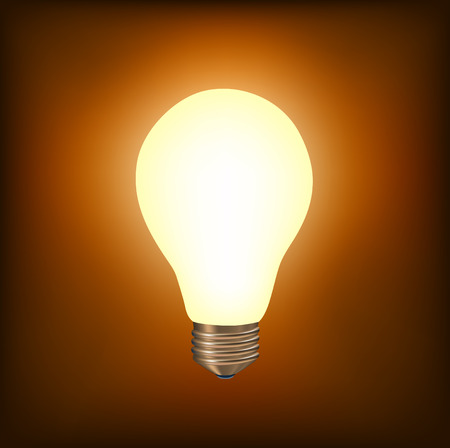 vector illustration of the light bulb brighting with yellow light on the brown background Vector