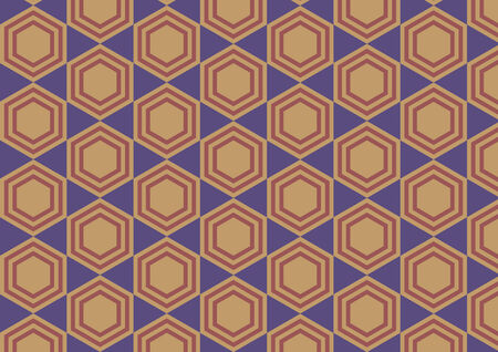 Vector illustration of hexagon retro abstract pattern on the blue background Vector