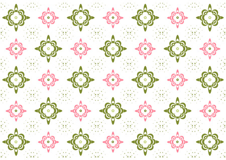 Vector illustration  of stars and flowers pattern on the white background Vector