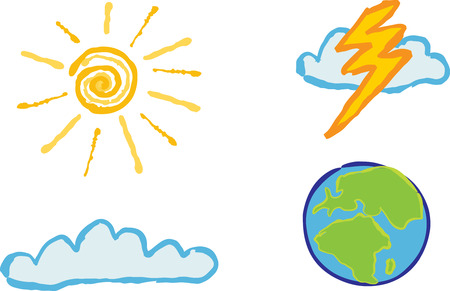 Shiny weather icons - Sunshine, cloud, lightening and globe  for your weather based designs. Vector
