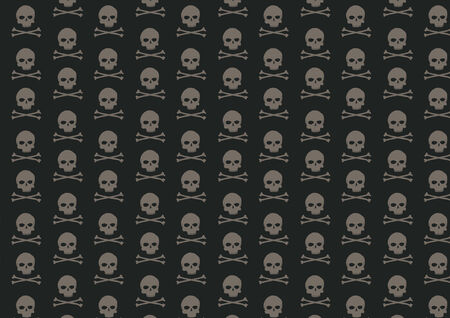 Vector illustration of skull and bone pattern on the black background Vector