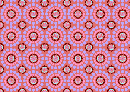 rounding: Vector illustration of circle flowers abstract pattern on the pink background