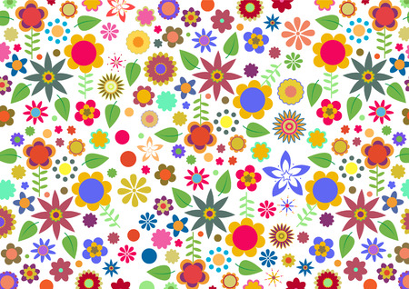 Vector illustration de fleurs multicolores funky et des feuilles motif abstrait sur fond blanc Illustration