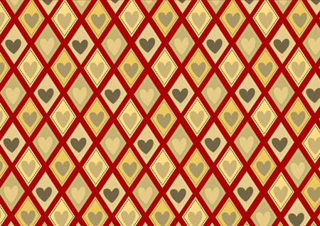 Vector illustration of retro rhombs with heart pattern on the red background Vector