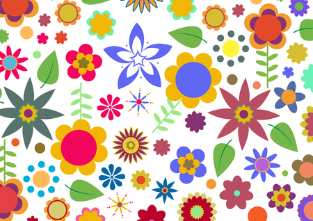 Vector illustration of multicolored funky flowers abstract pattern on white background Stock Vector - 3943824