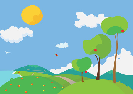cartoon land: Vector illustration of a landscape with colorful flowers and trees in the summertime.