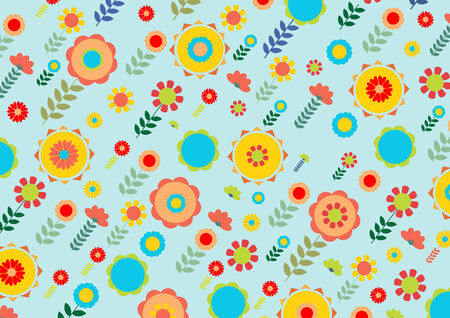 fruitful: Vector illustration of multicolored funky flowers and leaves retro pattern on blue background Illustration