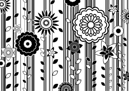 black vector: Vector illustration of black and white funky flowers abstract pattern