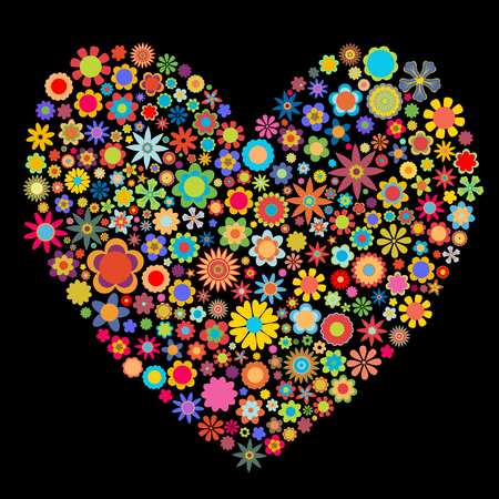 Vector illustration of heart  pattern made up of flower shapeson the black  background. Good  for Valentine Cards.